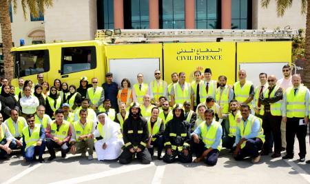الجامعة تنفذ عملية إخلاء ناجحة بالتعاون مع الإدارة العامة للدفاع المدني